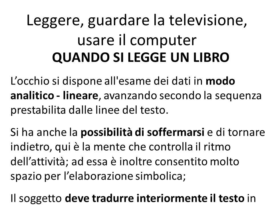 Leggere, guardare la televisione, usare il computer