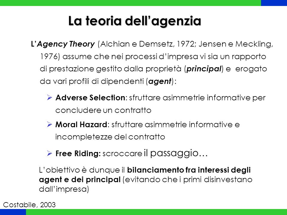 La teoria dell'agenzia