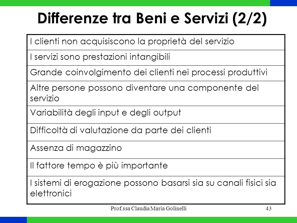 Differenze tra Beni e Servizi (2/2)