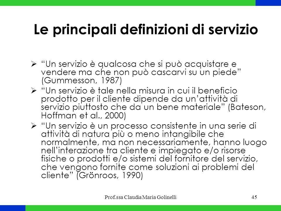Le principali definizioni di servizio