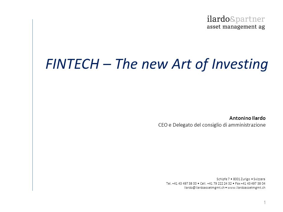 FINTECH – The new Art of Investing