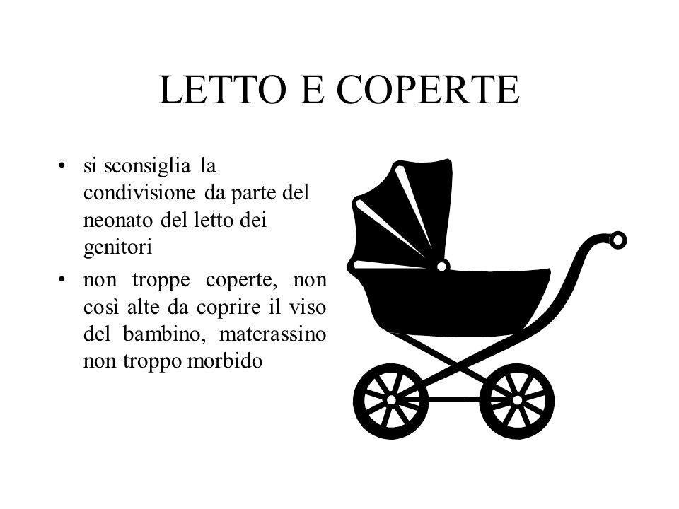 LETTO E COPERTE si sconsiglia la condivisione da parte del neonato del letto dei genitori.