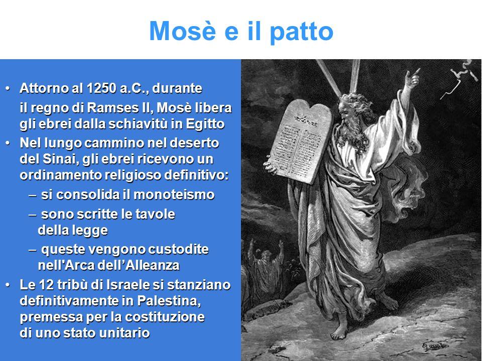 Mosè e il patto Attorno al 1250 a.C., durante