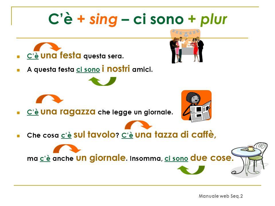 C'è + sing – ci sono + plur
