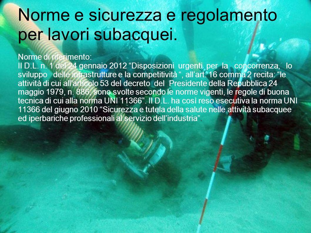 Norme e sicurezza e regolamento per lavori subacquei