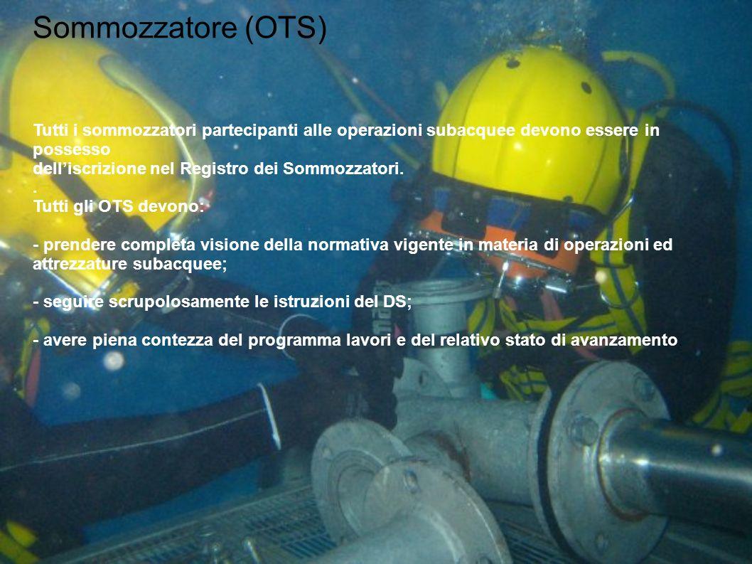 Sommozzatore (OTS) Tutti i sommozzatori partecipanti alle operazioni subacquee devono essere in possesso.