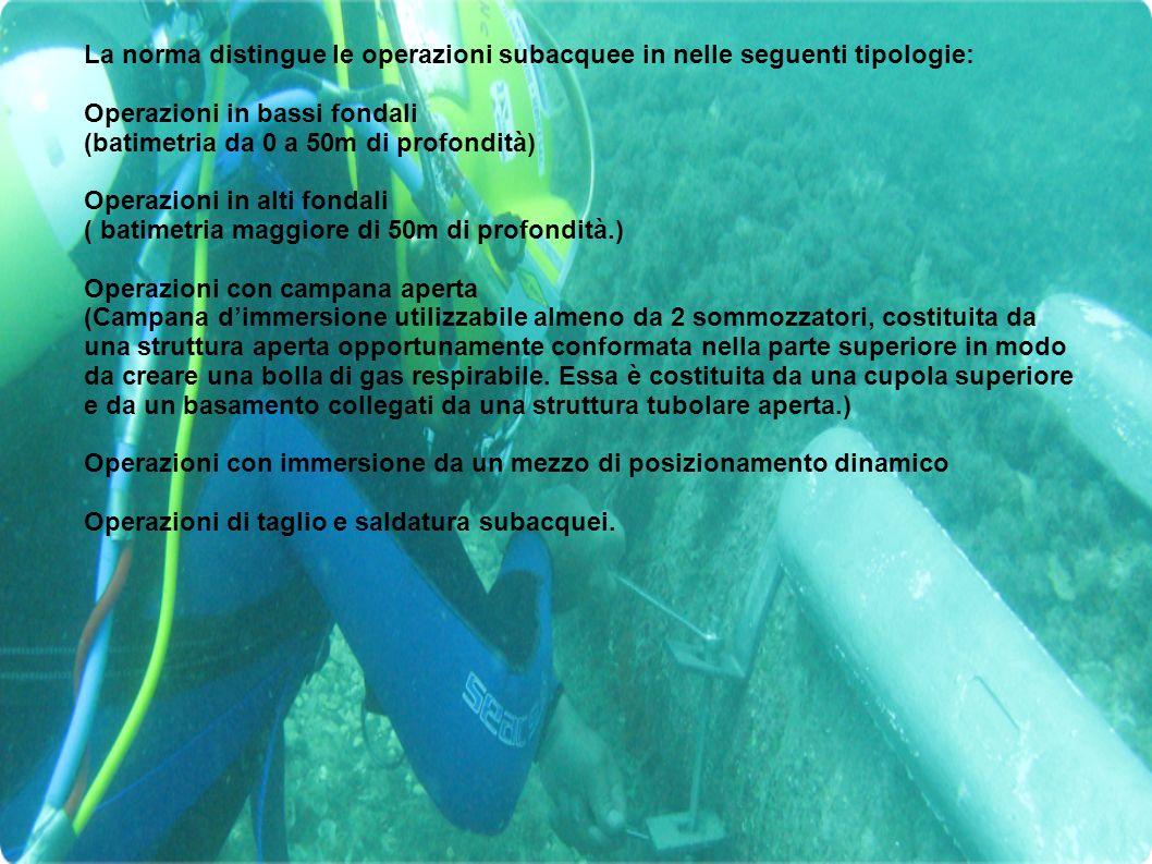 La norma distingue le operazioni subacquee in nelle seguenti tipologie: