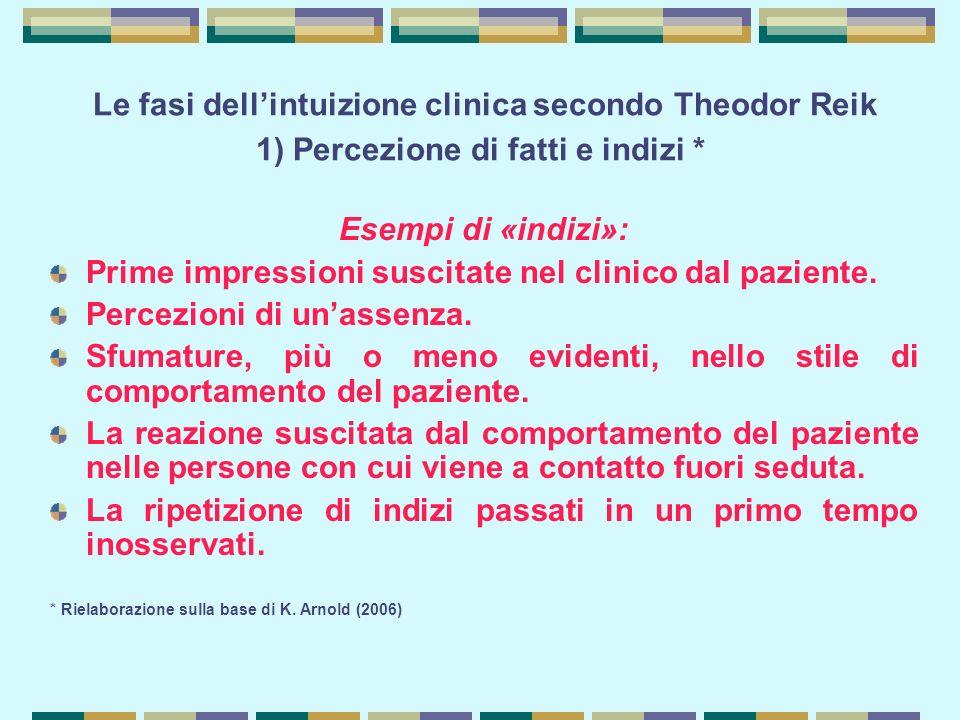 Le fasi dell'intuizione clinica secondo Theodor Reik 1) Percezione di fatti e indizi *