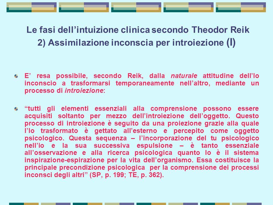 Le fasi dell'intuizione clinica secondo Theodor Reik 2) Assimilazione inconscia per introiezione (I)