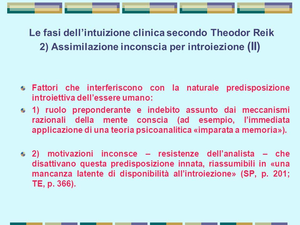 Le fasi dell'intuizione clinica secondo Theodor Reik 2) Assimilazione inconscia per introiezione (II)