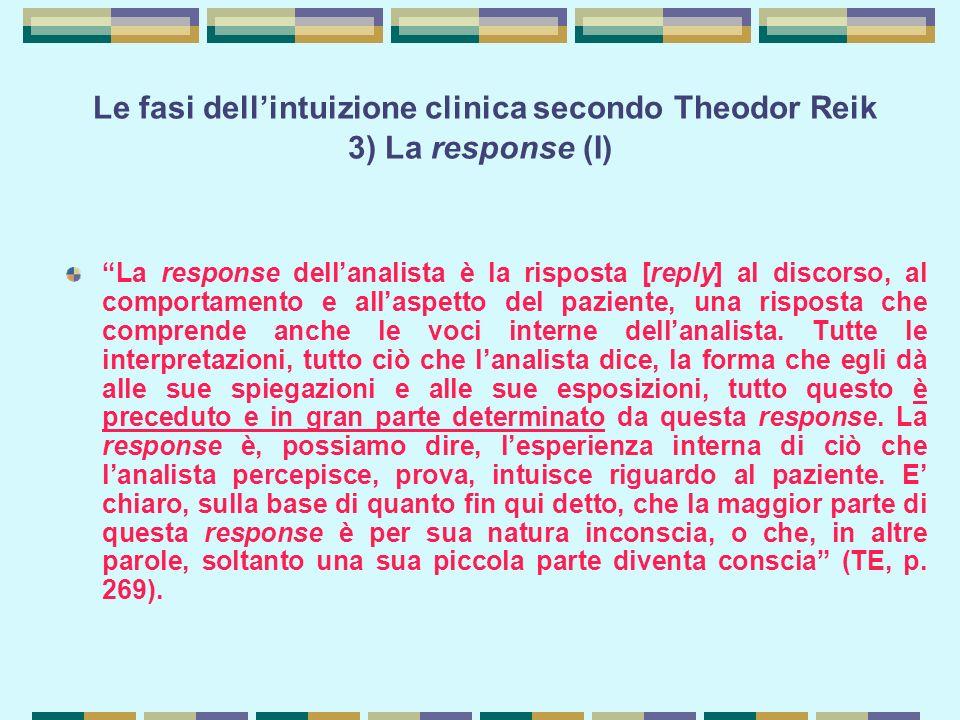 Le fasi dell'intuizione clinica secondo Theodor Reik 3) La response (I)