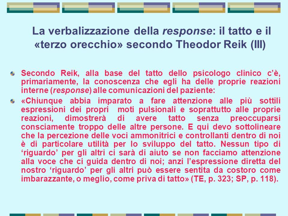 La verbalizzazione della response: il tatto e il «terzo orecchio» secondo Theodor Reik (III)