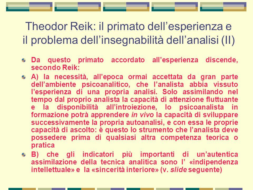 Theodor Reik: il primato dell'esperienza e il problema dell'insegnabilità dell'analisi (II)