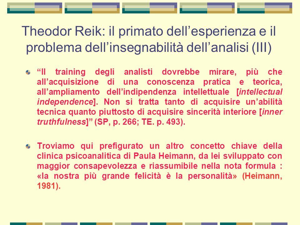 Theodor Reik: il primato dell'esperienza e il problema dell'insegnabilità dell'analisi (III)