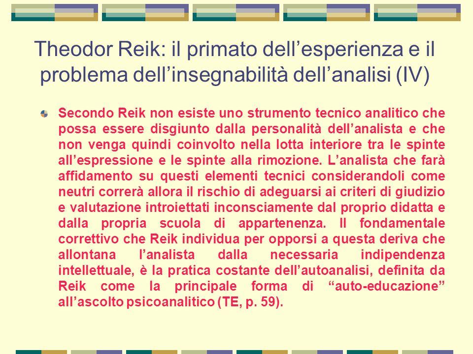 Theodor Reik: il primato dell'esperienza e il problema dell'insegnabilità dell'analisi (IV)