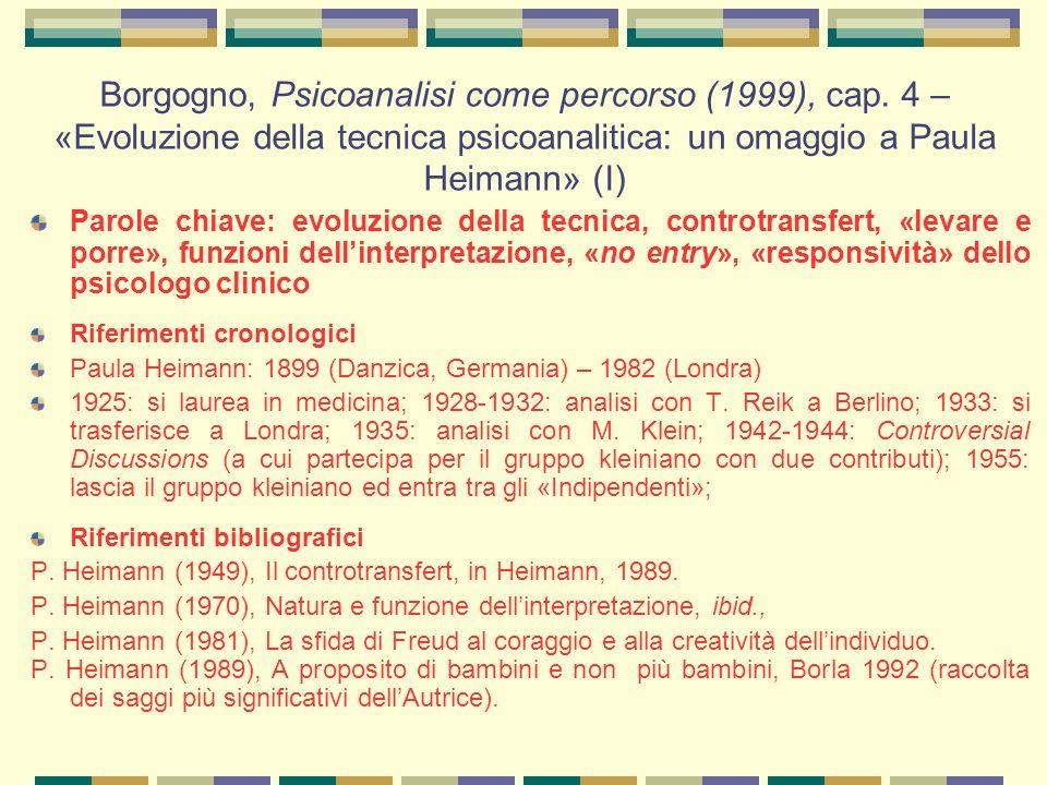 Borgogno, Psicoanalisi come percorso (1999), cap