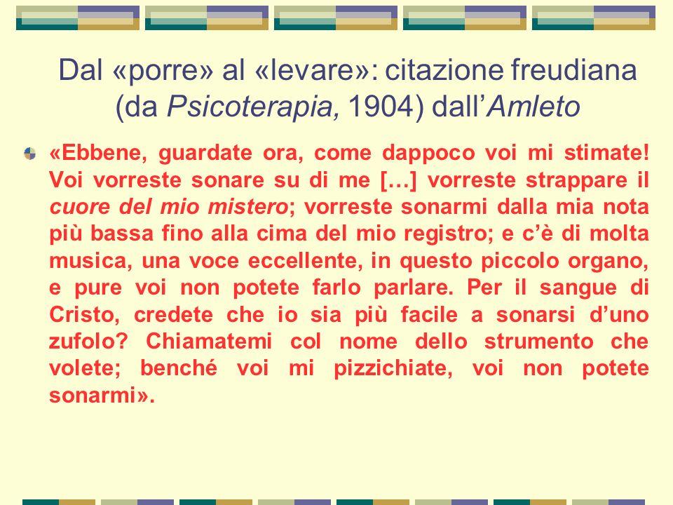 Dal «porre» al «levare»: citazione freudiana (da Psicoterapia, 1904) dall'Amleto