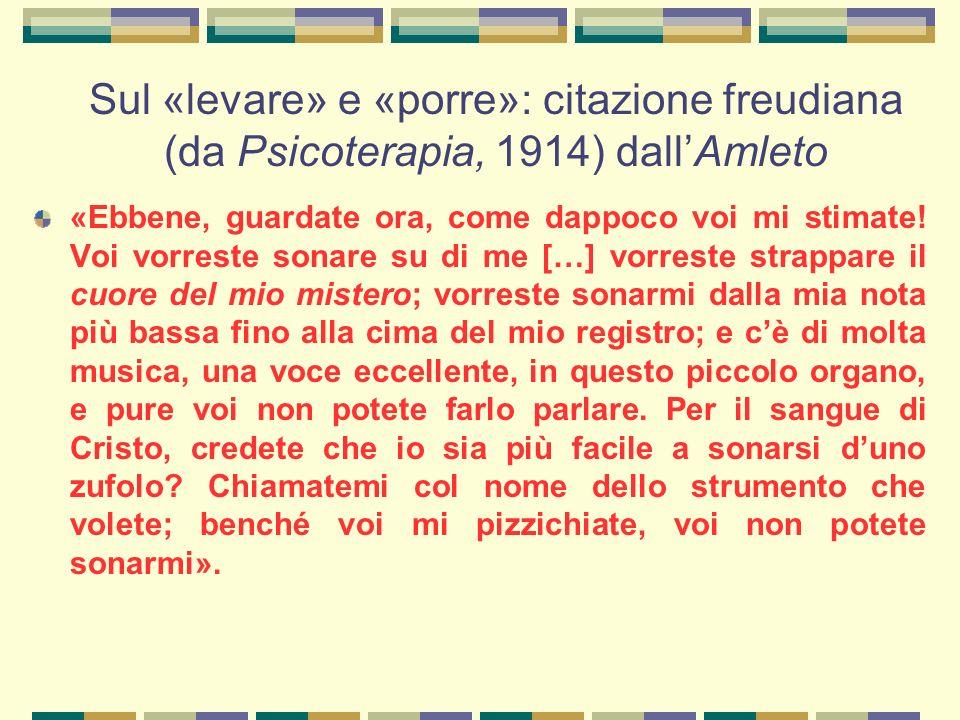 Sul «levare» e «porre»: citazione freudiana (da Psicoterapia, 1914) dall'Amleto