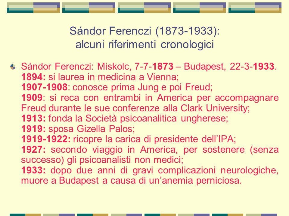 Sándor Ferenczi (1873-1933): alcuni riferimenti cronologici