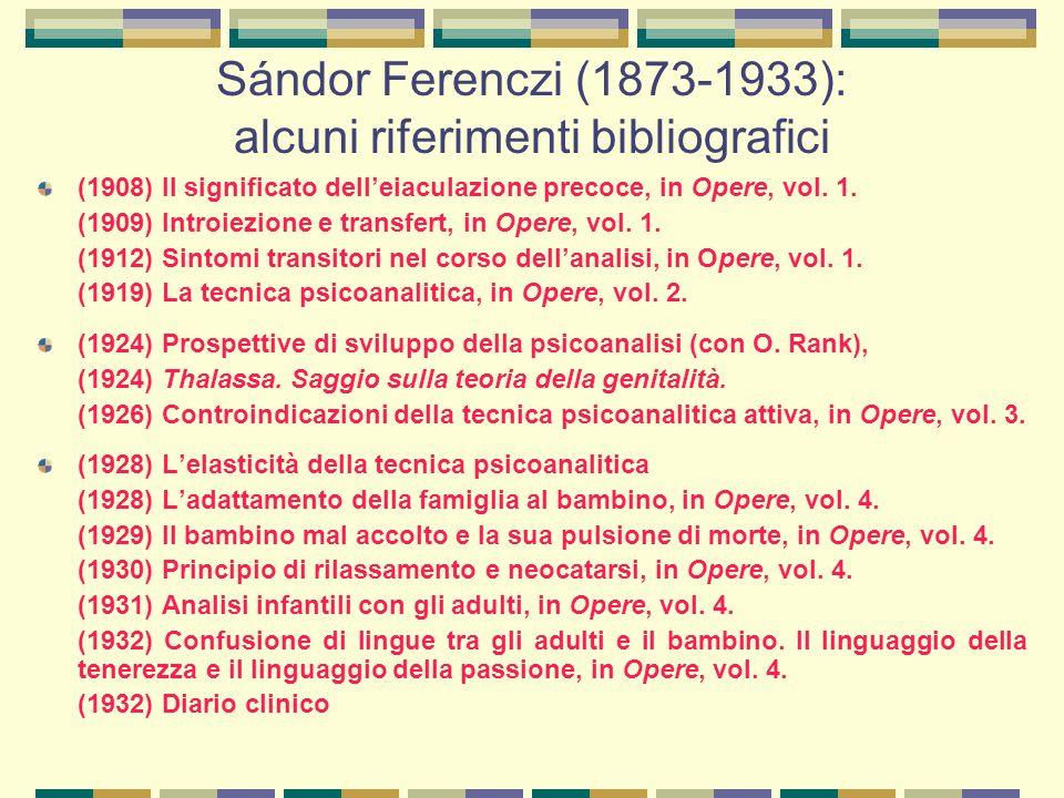 Sándor Ferenczi (1873-1933): alcuni riferimenti bibliografici