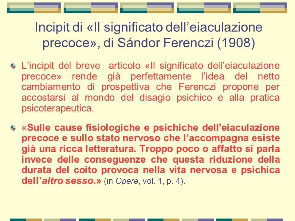 Incipit di «Il significato dell'eiaculazione precoce», di Sándor Ferenczi (1908)