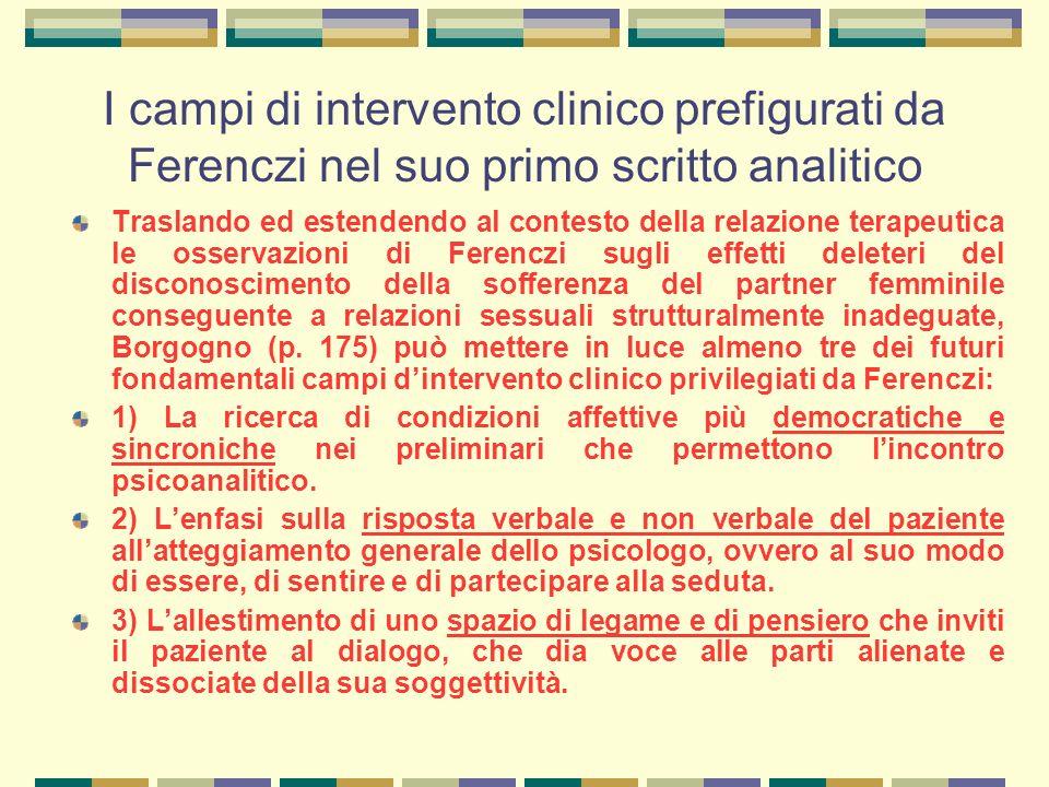 I campi di intervento clinico prefigurati da Ferenczi nel suo primo scritto analitico