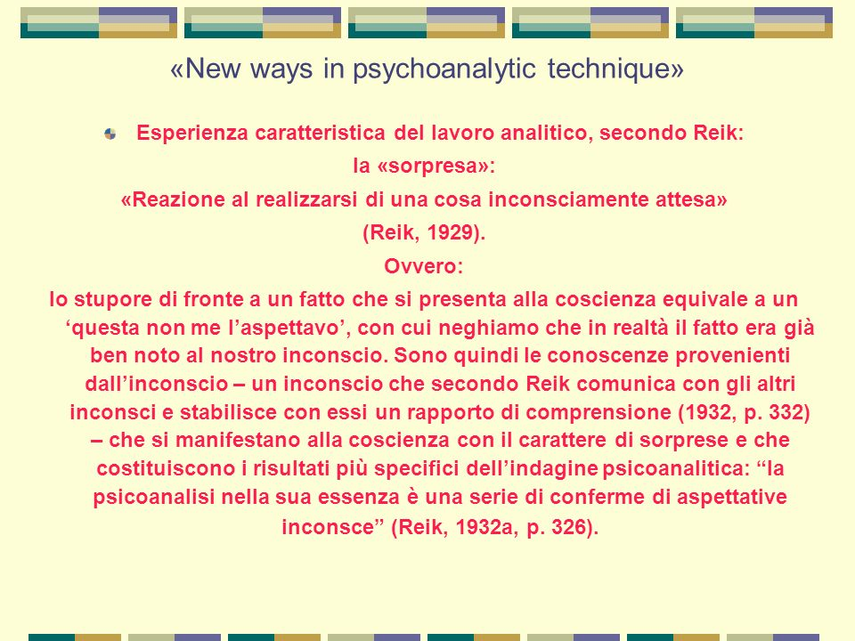 «New ways in psychoanalytic technique»