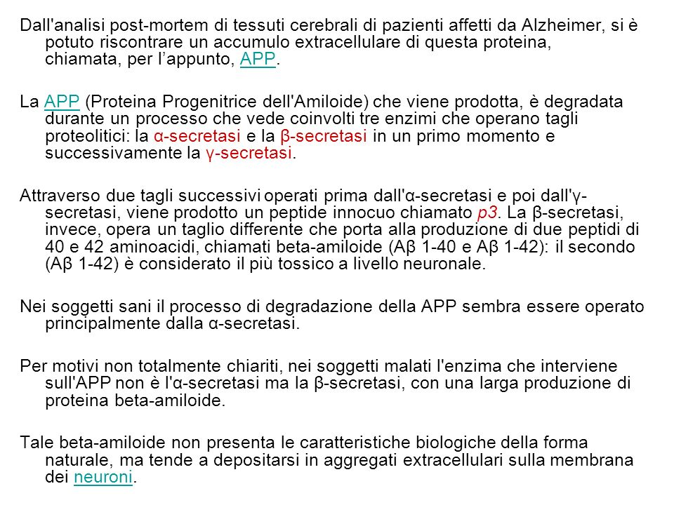 Dall analisi post-mortem di tessuti cerebrali di pazienti affetti da Alzheimer, si è potuto riscontrare un accumulo extracellulare di questa proteina, chiamata, per l'appunto, APP.