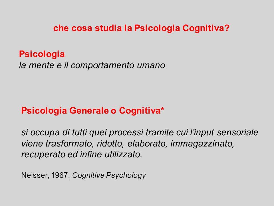che cosa studia la Psicologia Cognitiva