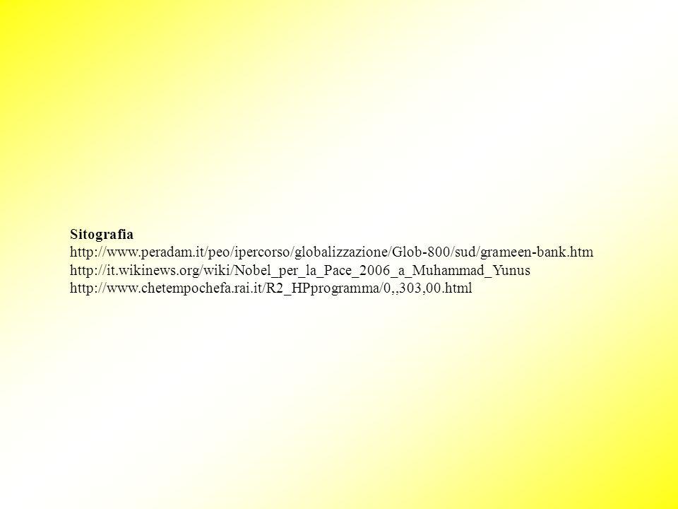 Sitografia http://www.peradam.it/peo/ipercorso/globalizzazione/Glob-800/sud/grameen-bank.htm.