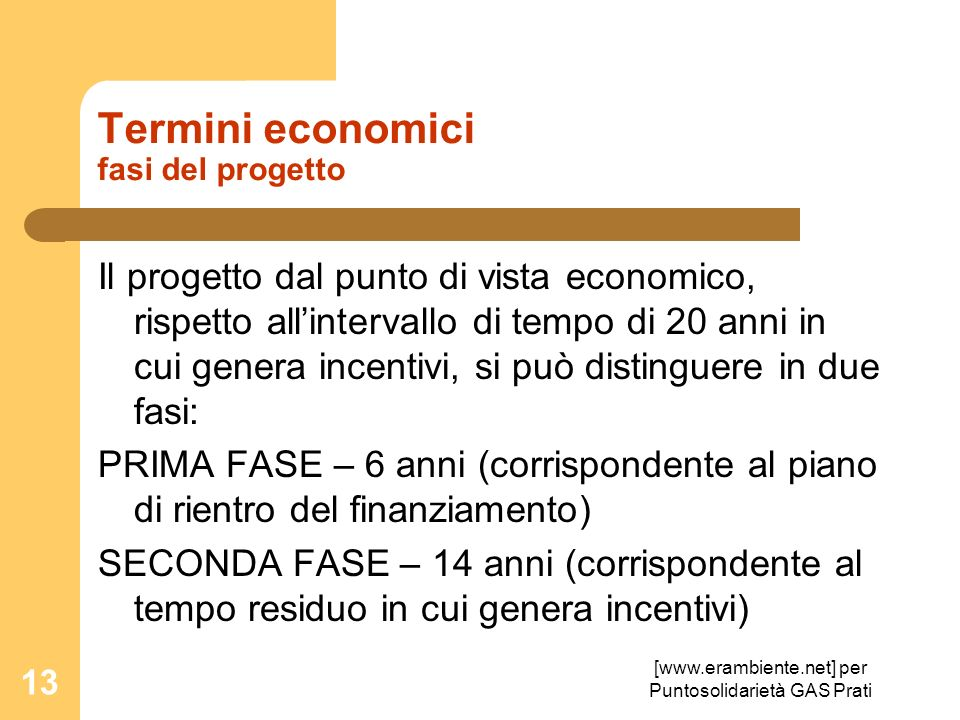 Termini economici fasi del progetto