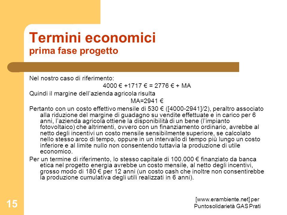 Termini economici prima fase progetto
