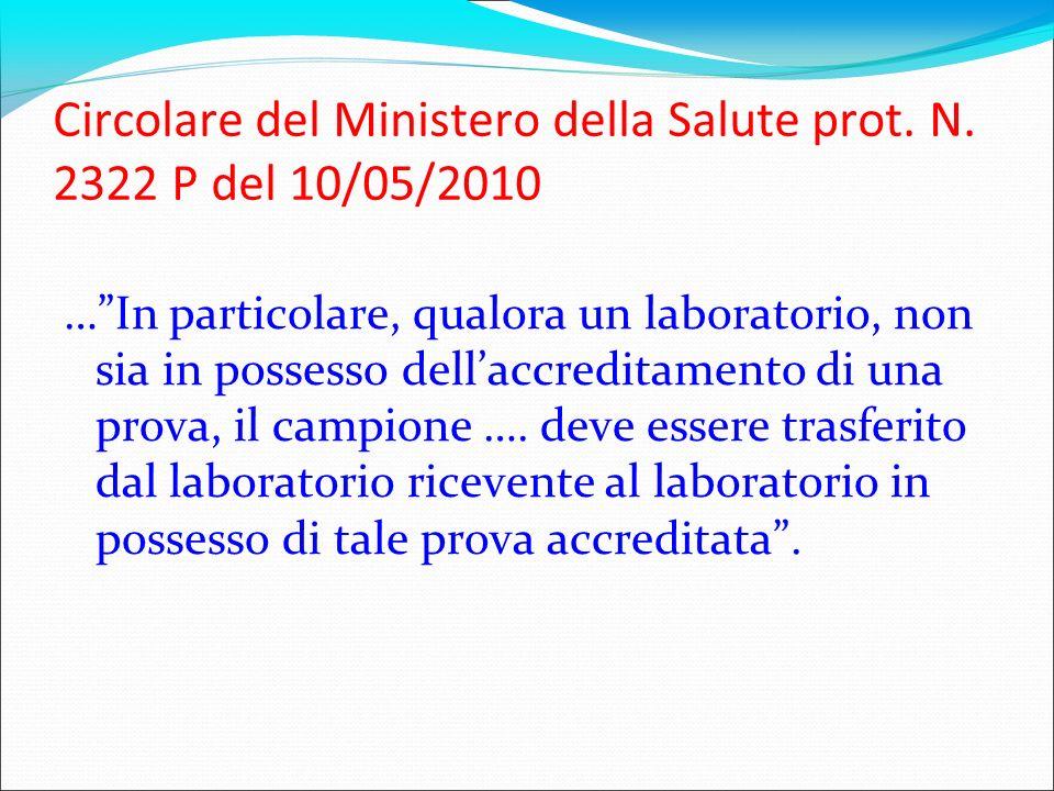 Circolare del Ministero della Salute prot. N. 2322 P del 10/05/2010