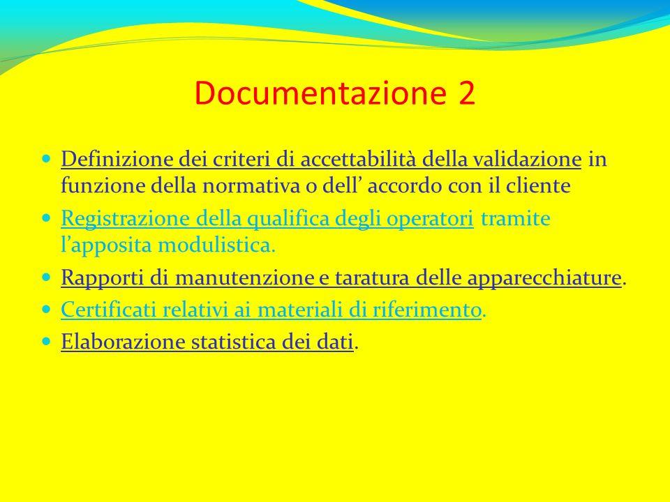 Documentazione 2Definizione dei criteri di accettabilità della validazione in funzione della normativa o dell' accordo con il cliente.