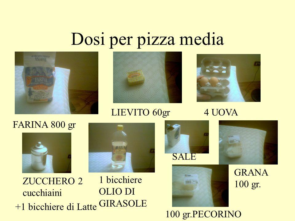 Dosi per pizza media LIEVITO 60gr 4 UOVA FARINA 800 gr SALE