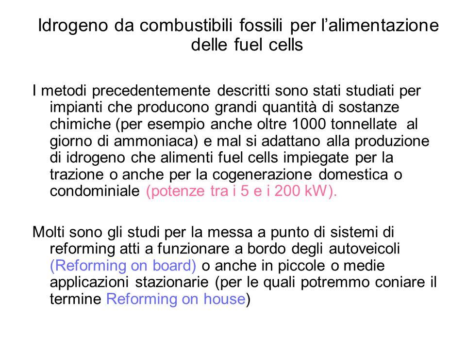 Idrogeno da combustibili fossili per l'alimentazione delle fuel cells
