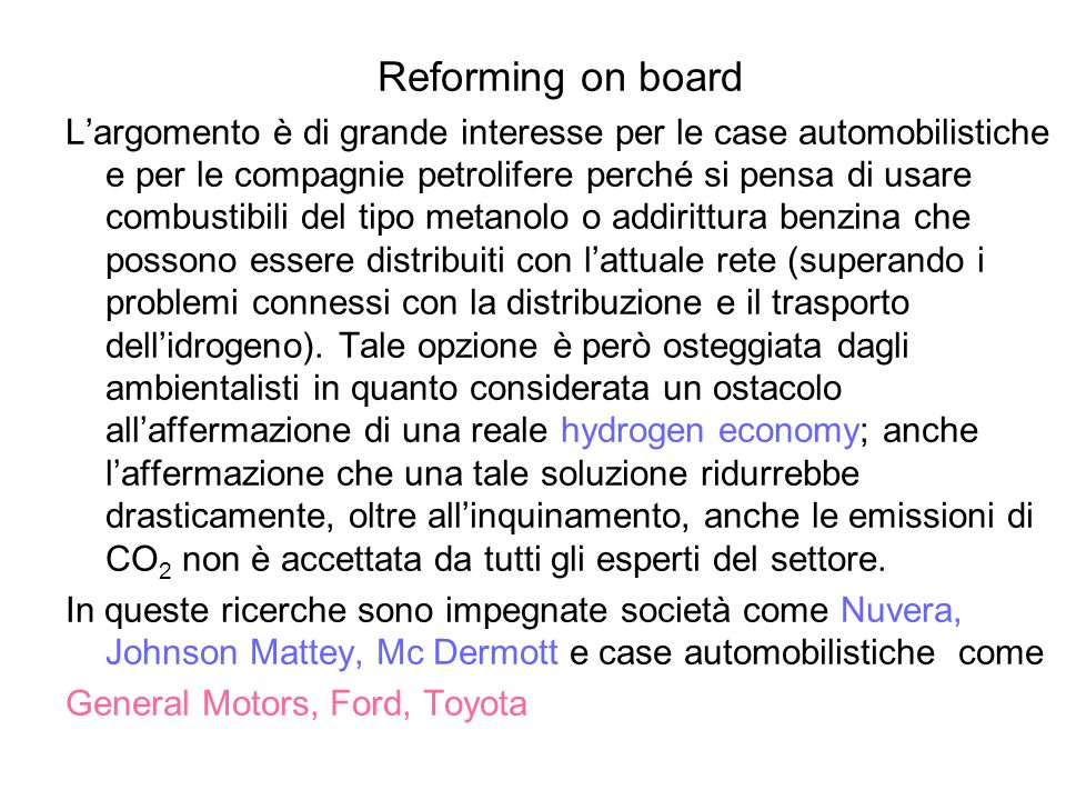 Reforming on board