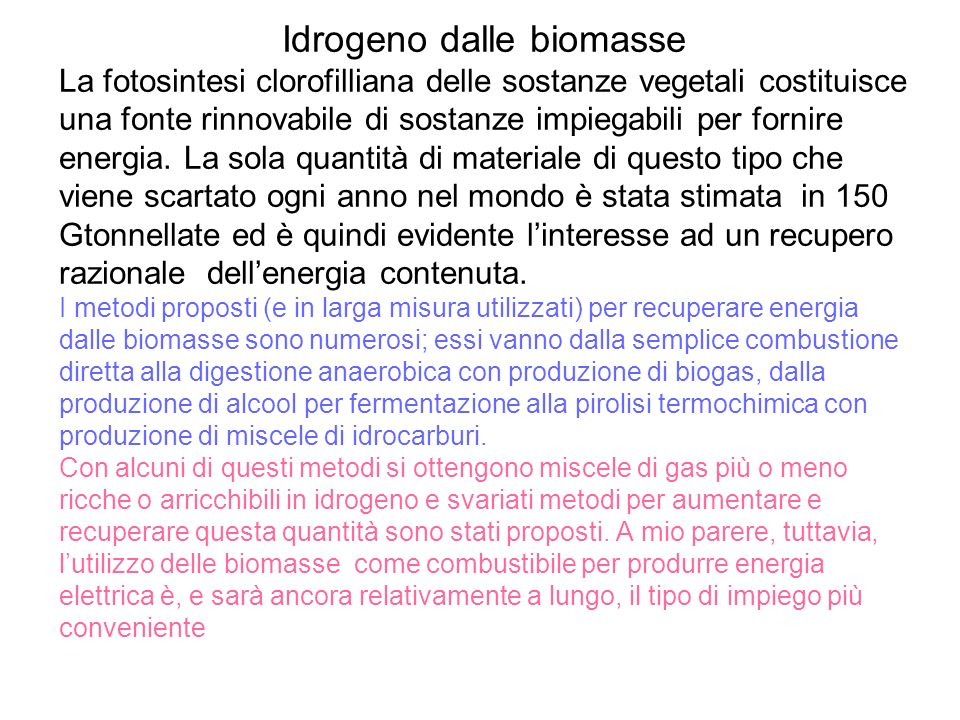Idrogeno dalle biomasse