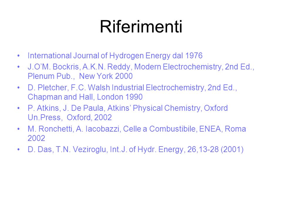 Riferimenti International Journal of Hydrogen Energy dal 1976