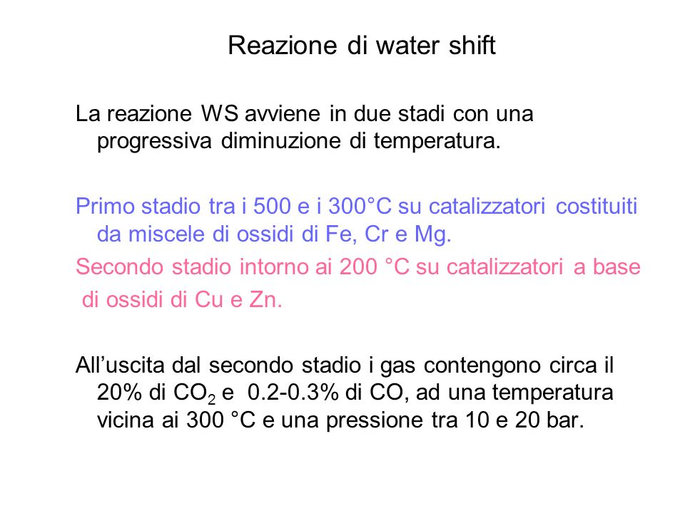 Reazione di water shift