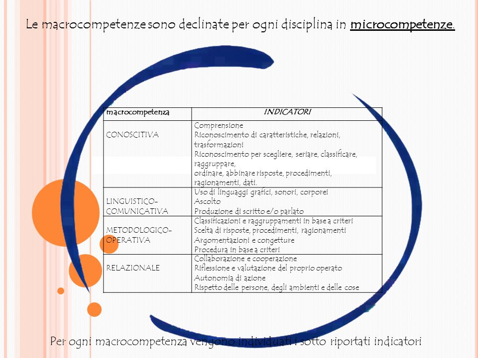 Le macrocompetenze sono declinate per ogni disciplina in microcompetenze.