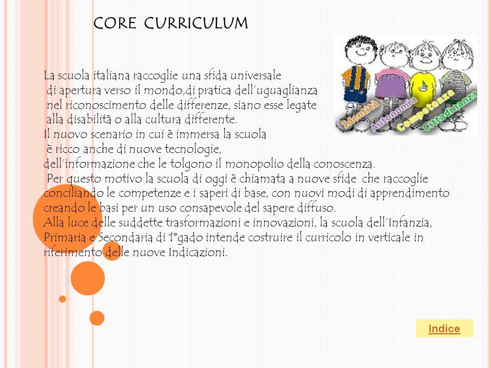 CORE CURRICULUM La scuola italiana raccoglie una sfida universale