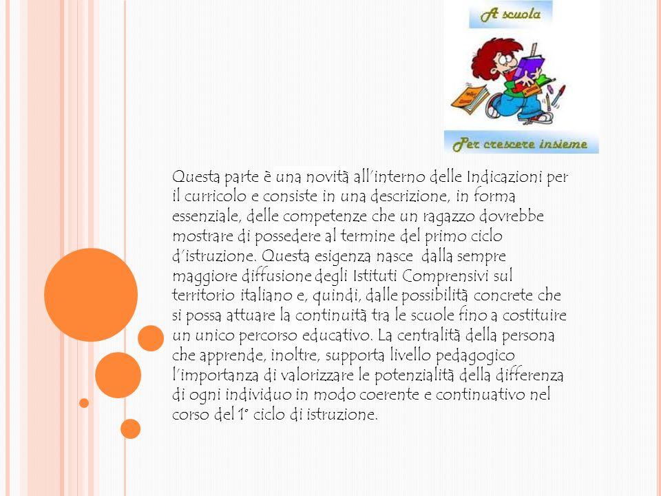 Questa parte è una novità all'interno delle Indicazioni per il curricolo e consiste in una descrizione, in forma essenziale, delle competenze che un ragazzo dovrebbe mostrare di possedere al termine del primo ciclo d'istruzione.