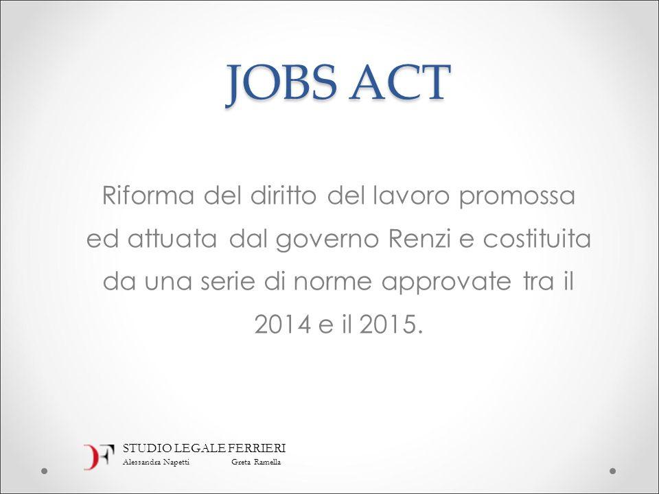 JOBS ACT Riforma del diritto del lavoro promossa ed attuata dal governo Renzi e costituita da una serie di norme approvate tra il 2014 e il 2015.