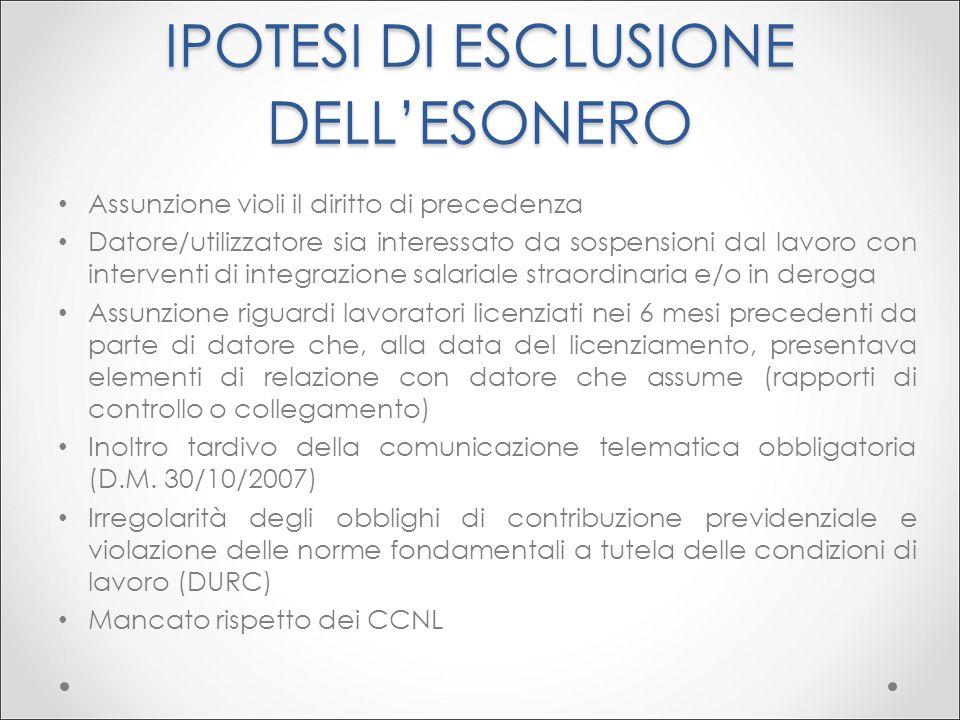 IPOTESI DI ESCLUSIONE DELL'ESONERO
