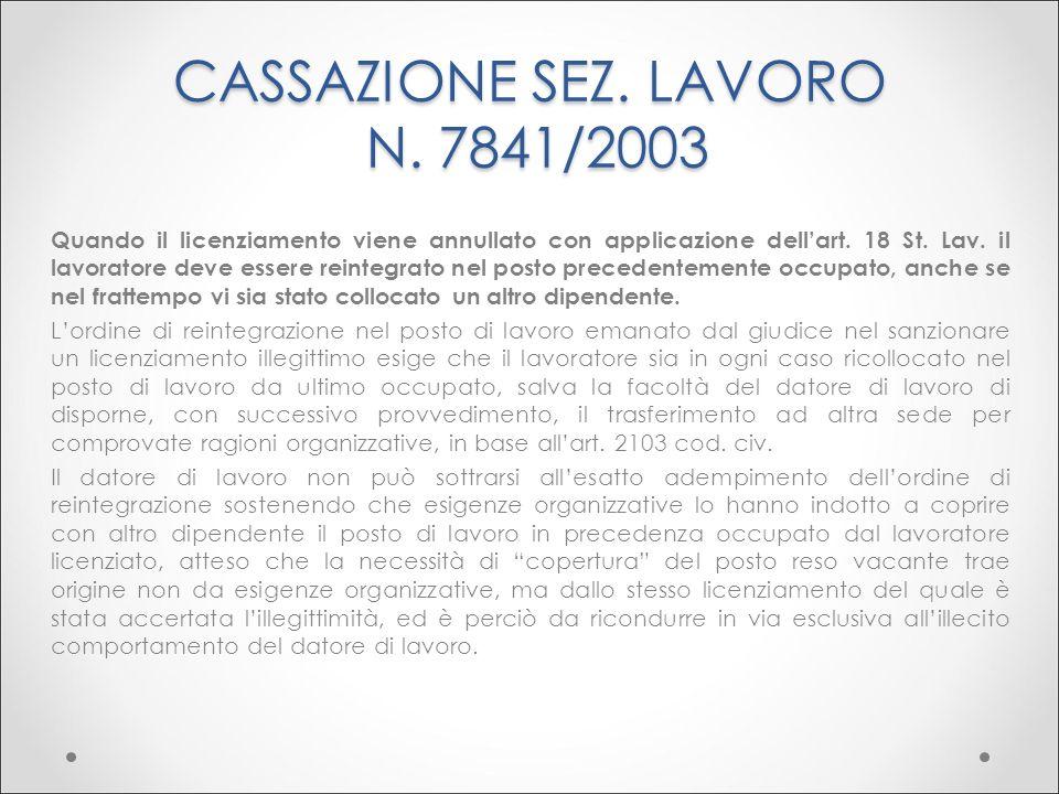 CASSAZIONE SEZ. LAVORO N. 7841/2003