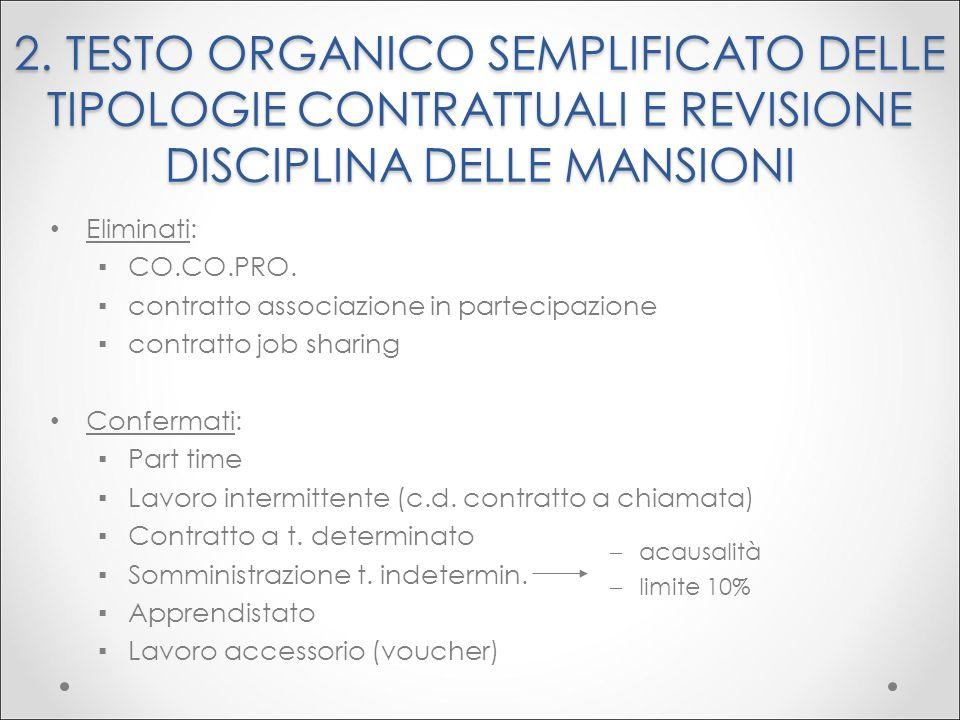 2. TESTO ORGANICO SEMPLIFICATO DELLE TIPOLOGIE CONTRATTUALI E REVISIONE DISCIPLINA DELLE MANSIONI