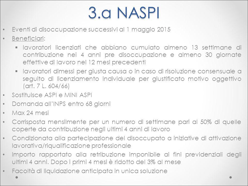 3.a NASPI Eventi di disoccupazione successivi al 1 maggio 2015