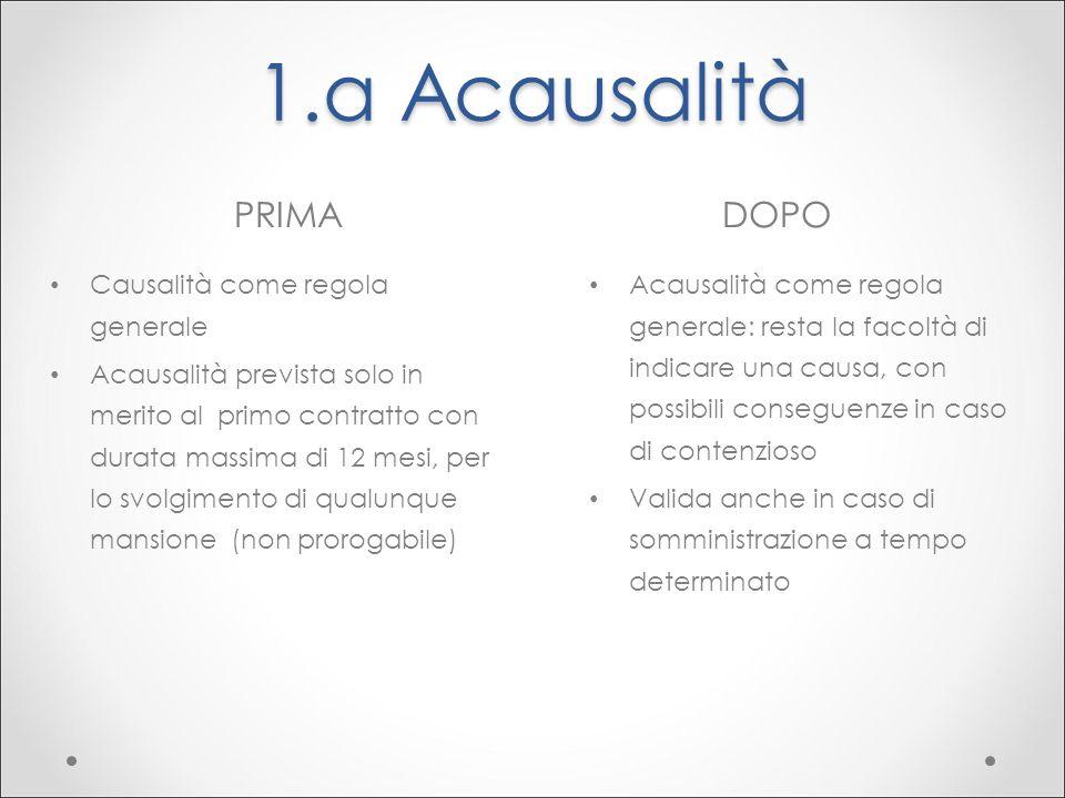 1.a Acausalità PRIMA DOPO Causalità come regola generale
