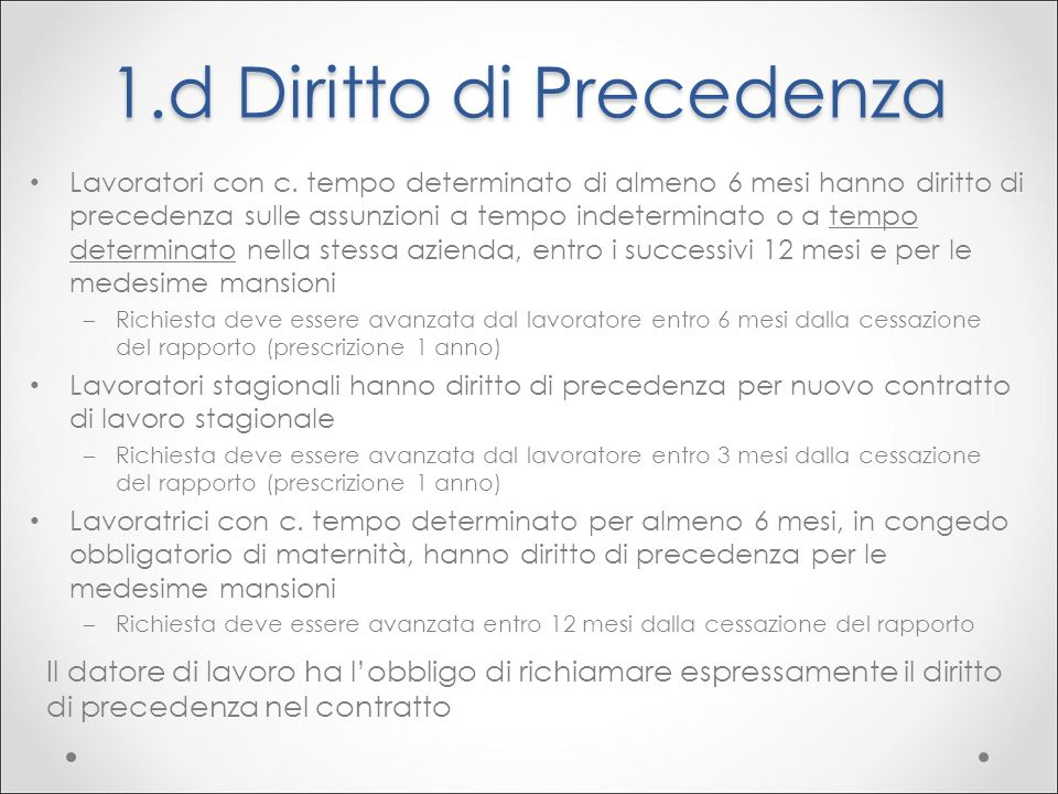 1.d Diritto di Precedenza